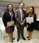 Dr Raymond Cheng with two of the winners, Professor Josephine Gimpaya and Amapola Villar at ICCEMST 2017